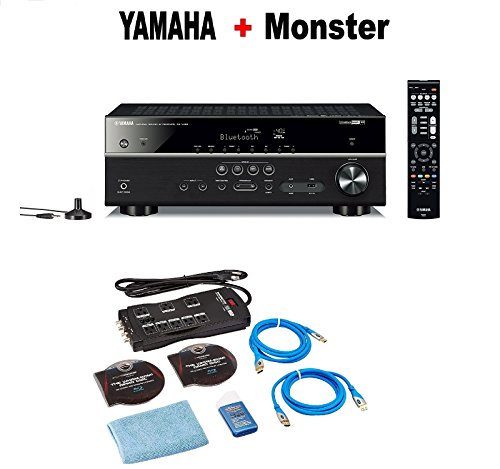 (Yamaha RX-V485BL 5.1-Channel 4K Ultra HD AV Receiver with Wi-Fi Bluetooth and MusicCast Compatible with Alexa Black + Monster Home Theater Accessory Bundle)