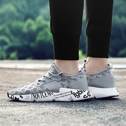 Homme Chaussure de Multisport Outdoor Sneaker pour Running Jogging Courir Marcher en Tissage Respirant Antidérapant 39-47 Gris Uvv9E