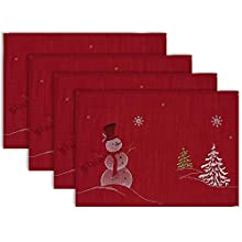 "DII 100% Polyester, Christmas Holiday Embroidered Placemats, 13x19"" Set of 4 - Snowmen"