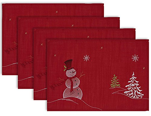 DII Polyester Christmas Embroidered Placemats