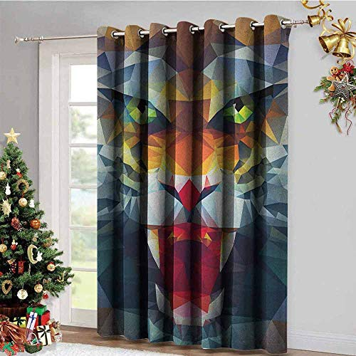 (Tiger Kitchen Gromets Curtain and Valances Set Drapes for Babys Room, Portrait of Animal from Top of The Food Chain Polygonal Abstract Art Dangerous Beast Printed Darkening Curtains, Multicolor, W12)