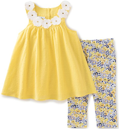 kids-headquarters-baby-girls-2-pieces-pants-set-a-line-tunic-yellow-18m
