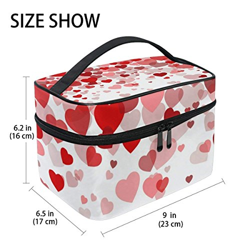 Makeup Bag Sweet Love Hearts Mens Travel Toiletry Bag Mens Cosmetic Bags for Women Fun Large Makeup Organizer by All agree (Image #2)