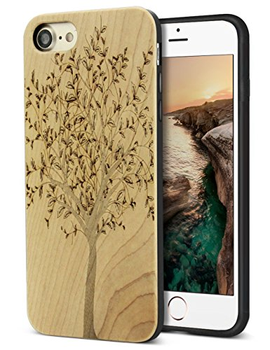 iPhone 8 Wood Case,iPhone 7 Case,Unique Handmade Real Wood Engraving Tree Design Case for Apple iPhone 7/8 (Real Xmas Trees)