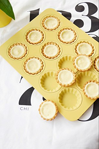 Astra Gourmet 12-Cavity Carbon Steel Mini Fluted Tart Pan/Quiche Pan/Pie Pan/Baking Tray with Matching Plastic Cutter Ring Stamp, Yellow by Astra Gourmet (Image #6)
