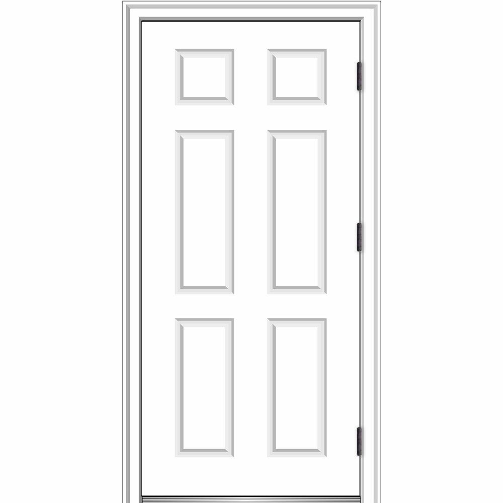National Door Company ZZ364686L Fiberglass Smooth, Primed, Left Hand Outswing, Prehung Door, 6-Panel, 36''x80'', Fiberglass by National Door Company