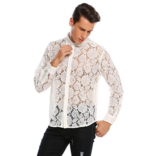 ccc89eeb7d0 etuoji Men Hollow Out Lace Floral Long Sleeve Button Up Sheer Casual Shirt  free shipping