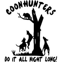 "Coon Hunters Raccoon Sportsman Hunting Vinyl Decal Sticker- 20"" Tall Chrome Silver Color"