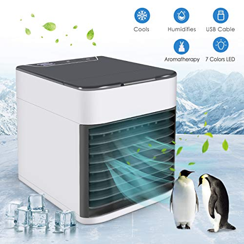 Air Conditioner Fan, 4 in 1 Small Personal USB Air Cooler Mini Air Purifier Humidifier with LED Lights, Air Cooler Desk Fan Cooling with Handle for Home Room Office (Desk Handle)