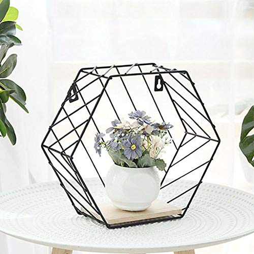 (Quaanti Floating Shelf,Wall Mounted Modern Simple Geometry Wood Metal Wire Hexagon Plant Flower Wall Decoration Wall Storage Shelves Display Racks Perfect for Bedroom,Living Room,Office (A))