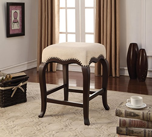 ACME Kakabel Cream Fabric Counter Height Stool 1 Piece