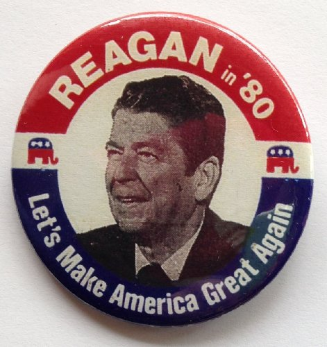 - 1980 Ronald Reagan Reagan in '80 Political Pin Back Button Let's Make America Great Again (2 1/4 Inches)