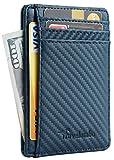 Travelambo Front Pocket Minimalist Leather Slim Wallet RFID Blocking Medium Size(carbon fiber texture blue)