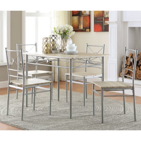 coaster-company-5pc-metal-and-wood-dinette-in-brushed-silver-finish-l-perfect-for-a-breakfast-or-sma