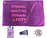 Giggle Golf Par 3 - Friends Don't Let Friends 3 Putt Towel, Tee Bag and Bling Ball Marker with Hat Clip – Perfect Golf Gift for Women