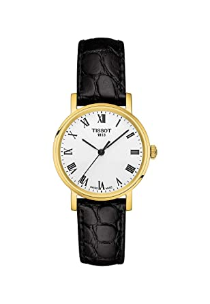 3fd822e7eee Image Unavailable. Image not available for. Color  Tissot Everytime Lady  Gold Black Leather Watch ...