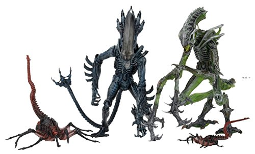 NECA Aliens Series 10: Gorilla Alien, Queen Facehugger and Mantis Alien Figure Assortment Set of 3