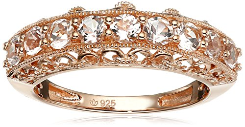 Rose Gold-Plated Silver Morganite Round 9-Stone Stackable Ring, Size 7