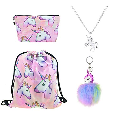 DRESHOW 4 Pack Unicorn Drawstring Backpack/Make Up Bag/Necklace Alloy Chain/Fluffy Key Chain Pendant Key Ring For Girls, 4 Set, One - Alloy Returns Apparel