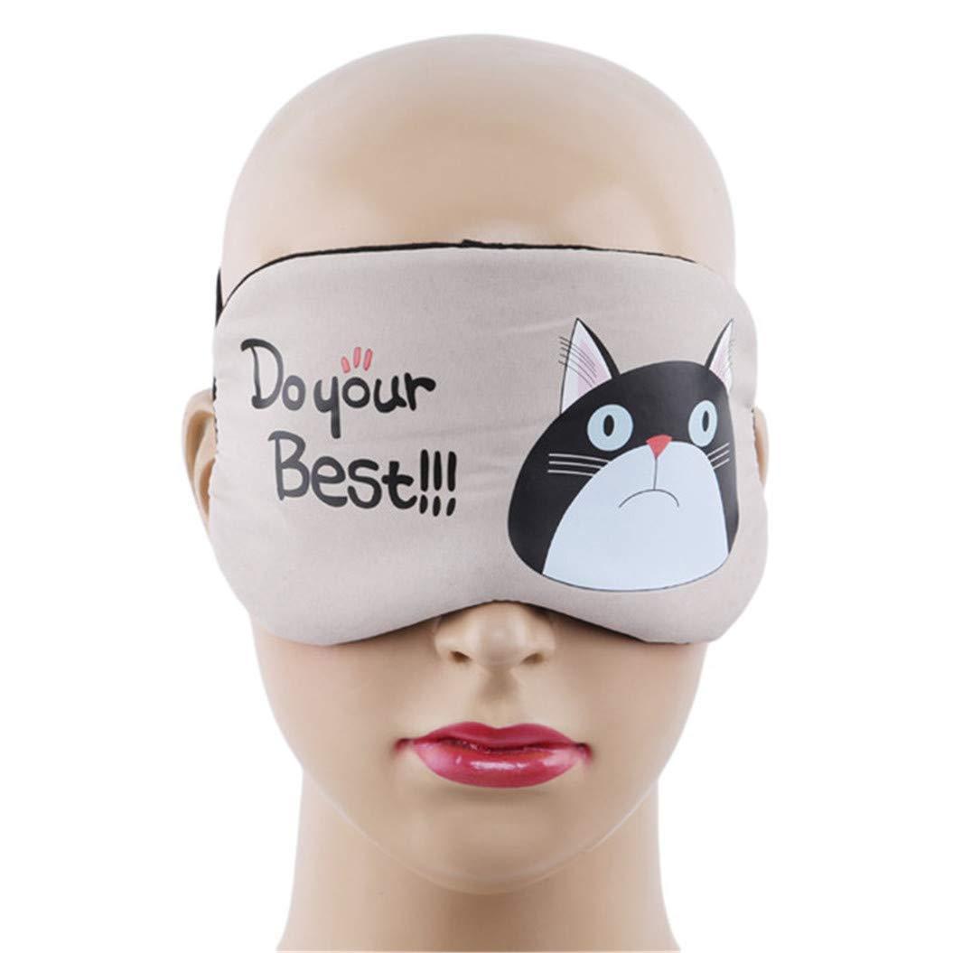 LZIYAN Sleeping Mask Cartoon Cat Sleep Eye Mask Breathable Travel Shade Cover Rest Relax Sleeping Blindfold Eye Patch,Khaki by LZIYAN (Image #3)