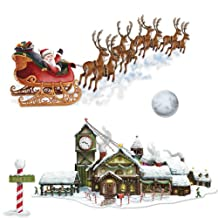 Beistle Santa's Sleigh and Workshop Props