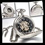 Personalised Silver Plated Half Hunter Skeleton Pocket Watch (Engraved Free)