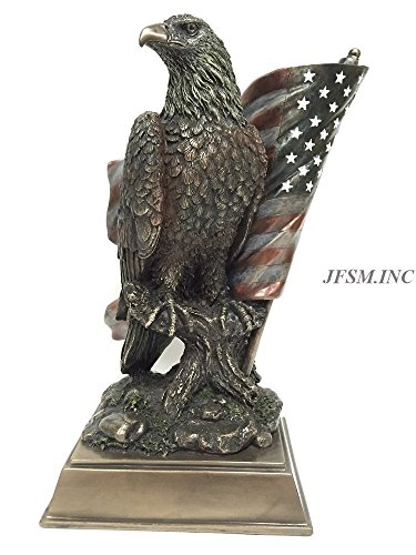 Veronese American Pride - Bald Eagle with Stars & Stripes Statue Sculpture