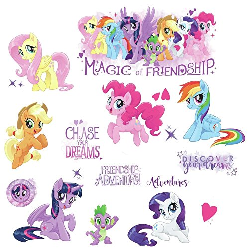 "RoomMates RMK3551SCS My Little Pony The Movie Peel & Stick Wall Decals with Glitter, Multicolor, 8"" from RoomMates"