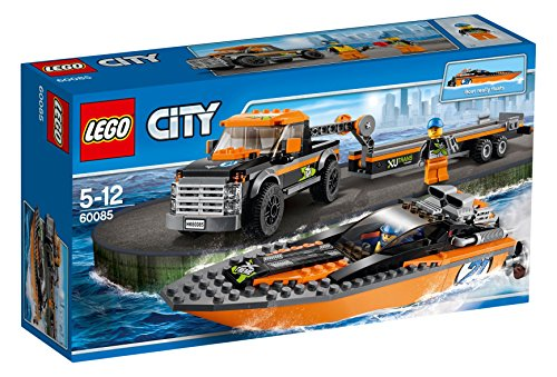LEGO-City-Set-4x4-con-lancha-multicolor-60085