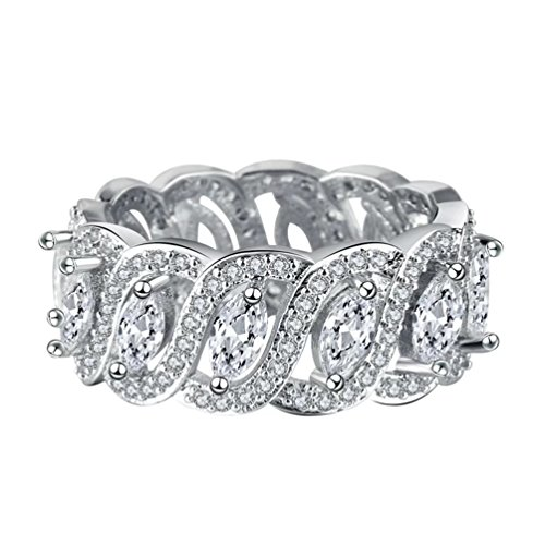 FENDINA Women Vintage CZ Created Diamond Wide Band Eternity Statement Ring 18k White Gold Plated Marquise Cut Design, Size 7