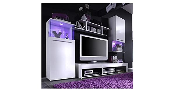 Générique Punch – Mueble TV Pared 228 cm Negra Blanco Mate y B ...