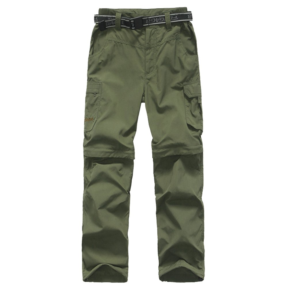 Kids Monolayer Can be Split Super Stretch Quick Drying Outdoor Pants 3301 Army Green Medium by Putu