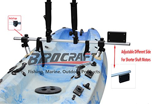 Brocraft Fishing Kayak Trolling Motor Mount Universal + Two Rocket Launching Rod Holder/Kayak Outboard Motor Bracket ()
