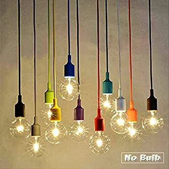 Pendant Light Bulb Socket: Socket Pendant Light, Ablevel E26 E27 Socket Base Silicon Pendant Hanging  Lamp Holder With Wire, 3.3ft Colorful Designer Hard Wired Rope Cord 8 Pack  (No ...,Lighting