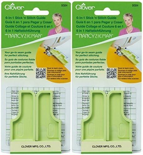 CLOVER Needlecrafts 9584 3 Piece 6-in-1 Stick n Stitch Guide by Nancy Zieman Pack of 2