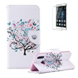 Funyye Magnetic Flip Cover Leather Case for Huawei P Smart Plus/Huawei Nova 3i,Stylish Cherry Tree Pattern Soft Wallet with Stand Credit Card Holder Slots Case for Huawei P Smart Plus/Huawei Nova 3i,Shock Proof Anti Scratch Non Slip Slim Fit Case for Huawei P Smart Plus/Huawei Nova 3i + 1 x Free Screen Protector
