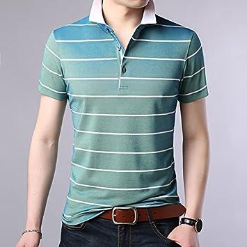 XiaoGao homme rayé à manches courtes, patron de revers de polo,blue