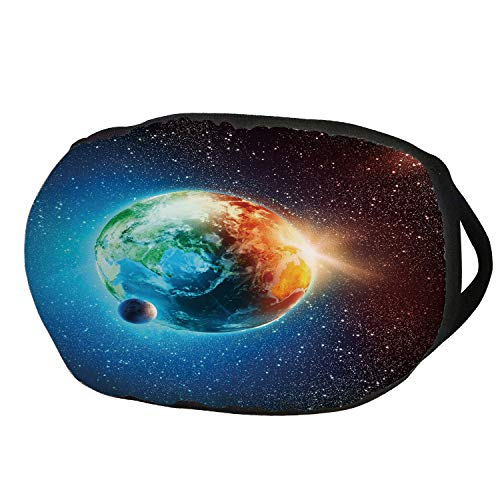Fashion Cotton Antidust Face Mouth Mask,Earth,Majestic Galaxy Outer Space View Universe with Planet Earth Stars Astral Theme,Orange Blue Black,for women & men for $<!--$9.99-->