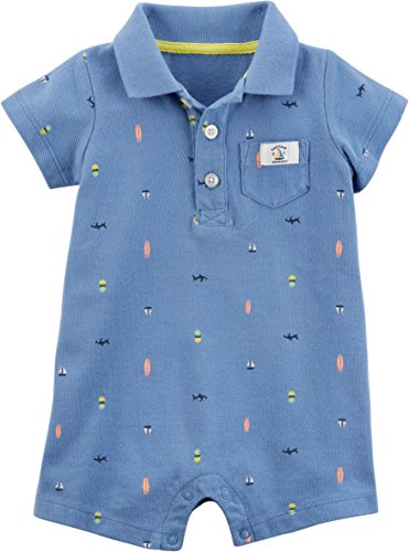 Carter's Baby Boys' Pique Polo Romper - Blue, 3 Months