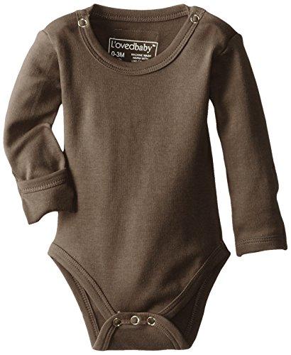 (L'ovedbaby Unisex-Baby Newborn Organic Gloved Sleeve Bodysuit, Bark, Newborn (up to 7lbs.))