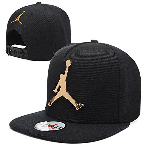 Jordan Iron standard hip-hop Cap NBA basketball Adjustable Hat Black One (Jordan Mens Hat)