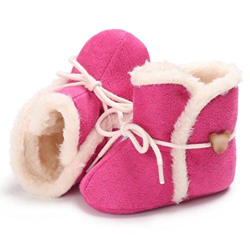 YiJee Baby Kinder Weihnachtsstil Casual Schuhe Herbst und Winter Einfarbig Kinderschuhe mit Weiche Sohlen Pfirsich