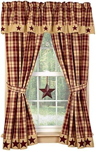 Burgundy Farmhouse Star 63″ Curtain Panel