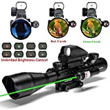 UUQ C4-12X50 AR15 Rifle Scope Dual Illuminated Reticle W/ GREEN Laser and 4 Tactical Holographic Dot Sight (12 Month Warranty)