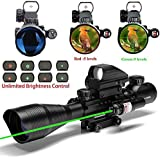 UUQ C4-12X50 AR15 Rifle Scope Dual Illuminated Reticle W/ GREEN(RED) Laser Sight and 4 Tactical Holographic Dot Reflex Sight (12 Month Warranty)