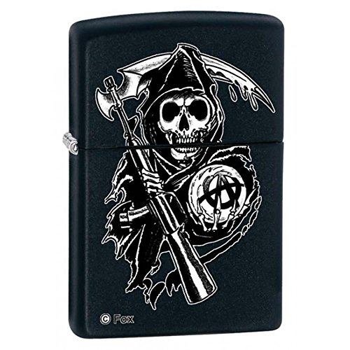 Anarchy Zippo Lighter - Sons Of Anarchy Black Matte Zippo Lighter -*Free Engraving on Backside