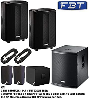 fbt kit: PAR promaxx 114 A caja Activa biamplificata 14px1p 900 W, Negro + fbt X Sub 15sa Subwoofer activo de 15p bass-reflex Compacto + Par fbt v-64 Funda X altavoz Monitor