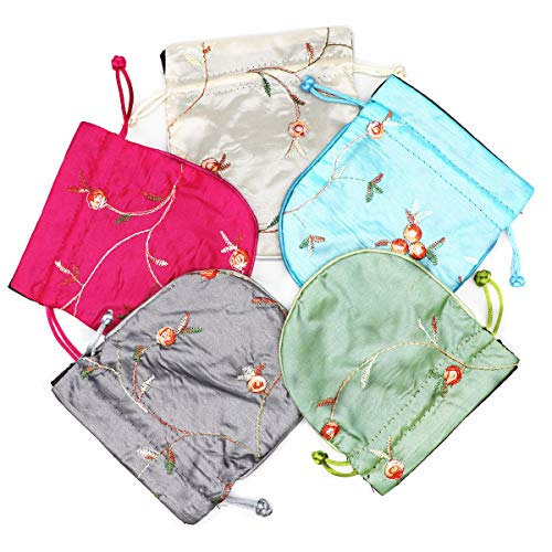 Chinese Brocade Jewelry Box - Outman 5 Pcs Chinese Silk Brocade Embroidered Jewelry Pouch Bag Coin Purses Drawstring Gift Bag (Color 4)