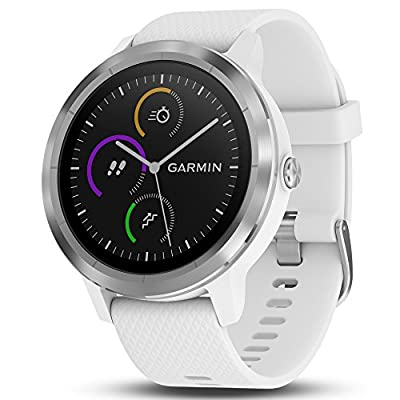 Garmin 010-01769-21 Vivoactive 3 GPS Fitness Smartwatch (White & Stainless) + 7 Pieces Fitness Kit
