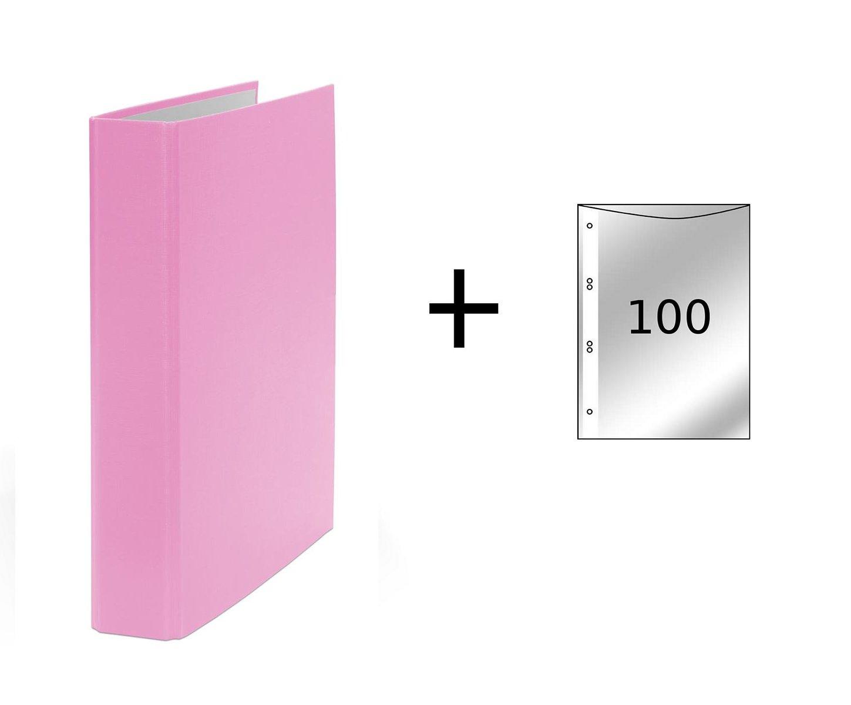 DIN A5 100 buste trasparenti Quaderno ad anelli Colore rosa Raccoglitore a 2 anelli